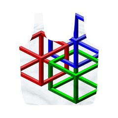 Impossible Cubes Red Green Blue Full Print Recycle Bags (M)