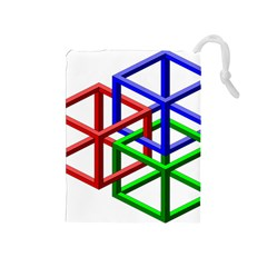 Impossible Cubes Red Green Blue Drawstring Pouches (Medium)