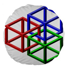 Impossible Cubes Red Green Blue Large 18  Premium Flano Round Cushions