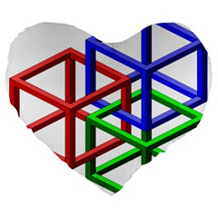 Impossible Cubes Red Green Blue Large 19  Premium Flano Heart Shape Cushions