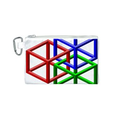Impossible Cubes Red Green Blue Canvas Cosmetic Bag (S)