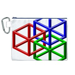 Impossible Cubes Red Green Blue Canvas Cosmetic Bag (XL)