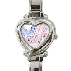 Marble Abstract Texture With Soft Pastels Colors Blue Pink Grey Heart Italian Charm Watch