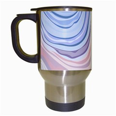 Marble Abstract Texture With Soft Pastels Colors Blue Pink Grey Travel Mugs (White)