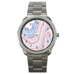 Marble Abstract Texture With Soft Pastels Colors Blue Pink Grey Sport Metal Watch