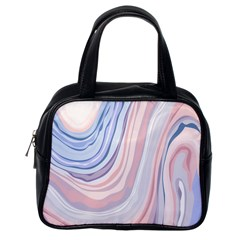 Marble Abstract Texture With Soft Pastels Colors Blue Pink Grey Classic Handbags (One Side)