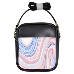 Marble Abstract Texture With Soft Pastels Colors Blue Pink Grey Girls Sling Bags