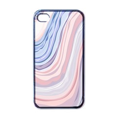 Marble Abstract Texture With Soft Pastels Colors Blue Pink Grey Apple Iphone 4 Case (black)