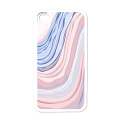 Marble Abstract Texture With Soft Pastels Colors Blue Pink Grey Apple iPhone 4 Case (White)