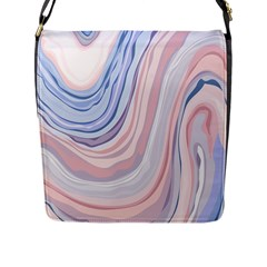 Marble Abstract Texture With Soft Pastels Colors Blue Pink Grey Flap Messenger Bag (L)
