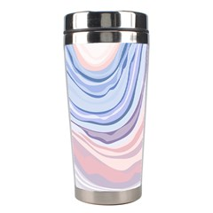 Marble Abstract Texture With Soft Pastels Colors Blue Pink Grey Stainless Steel Travel Tumblers