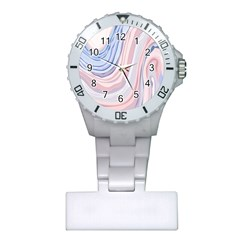 Marble Abstract Texture With Soft Pastels Colors Blue Pink Grey Plastic Nurses Watch