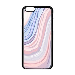 Marble Abstract Texture With Soft Pastels Colors Blue Pink Grey Apple iPhone 6/6S Black Enamel Case