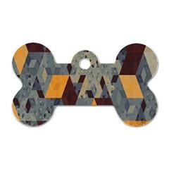 Apophysis Isometric Tessellation Orange Cube Fractal Triangle Dog Tag Bone (two Sides)