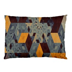 Apophysis Isometric Tessellation Orange Cube Fractal Triangle Pillow Case (Two Sides)