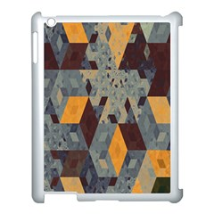 Apophysis Isometric Tessellation Orange Cube Fractal Triangle Apple iPad 3/4 Case (White)