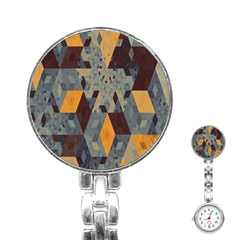 Apophysis Isometric Tessellation Orange Cube Fractal Triangle Stainless Steel Nurses Watch