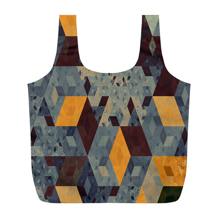 Apophysis Isometric Tessellation Orange Cube Fractal Triangle Full Print Recycle Bags (L)