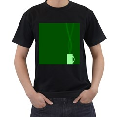 Mug Green Hot Tea Coffe Men s T-Shirt (Black) (Two Sided)
