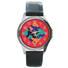 Plaid Red Sign Orange Blue Round Metal Watch