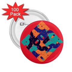 Plaid Red Sign Orange Blue 2.25  Buttons (100 pack)