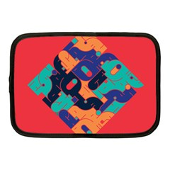 Plaid Red Sign Orange Blue Netbook Case (Medium)