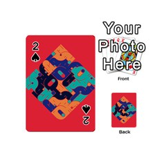Plaid Red Sign Orange Blue Playing Cards 54 (Mini)