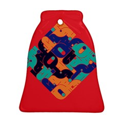 Plaid Red Sign Orange Blue Bell Ornament (Two Sides)