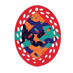 Plaid Red Sign Orange Blue Oval Filigree Ornament (Two Sides)