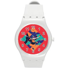 Plaid Red Sign Orange Blue Round Plastic Sport Watch (M)