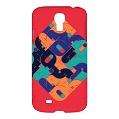 Plaid Red Sign Orange Blue Samsung Galaxy S4 I9500/I9505 Hardshell Case