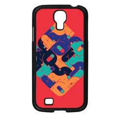 Plaid Red Sign Orange Blue Samsung Galaxy S4 I9500/ I9505 Case (Black)