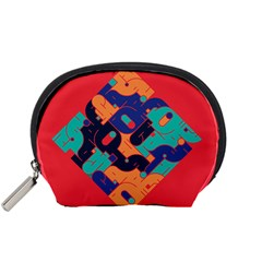 Plaid Red Sign Orange Blue Accessory Pouches (Small)