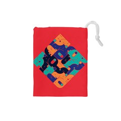 Plaid Red Sign Orange Blue Drawstring Pouches (small)