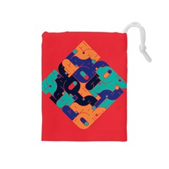 Plaid Red Sign Orange Blue Drawstring Pouches (Medium)