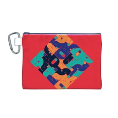 Plaid Red Sign Orange Blue Canvas Cosmetic Bag (M)