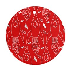 Moon Red Rocket Space Ornament (Round)