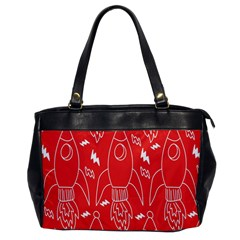 Moon Red Rocket Space Office Handbags