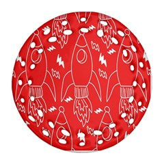 Moon Red Rocket Space Ornament (Round Filigree)