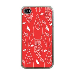 Moon Red Rocket Space Apple iPhone 4 Case (Clear)