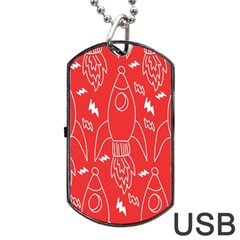 Moon Red Rocket Space Dog Tag USB Flash (Two Sides)