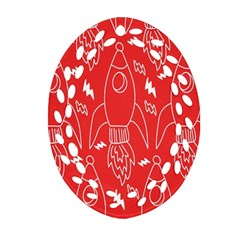 Moon Red Rocket Space Ornament (Oval Filigree)