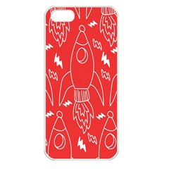 Moon Red Rocket Space Apple iPhone 5 Seamless Case (White)