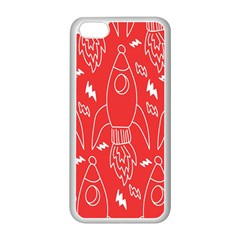 Moon Red Rocket Space Apple iPhone 5C Seamless Case (White)