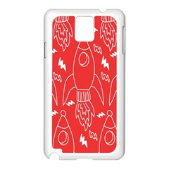 Moon Red Rocket Space Samsung Galaxy Note 3 N9005 Case (White)