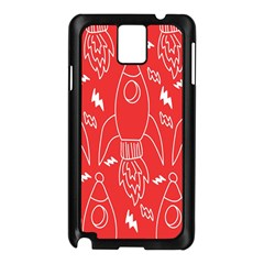 Moon Red Rocket Space Samsung Galaxy Note 3 N9005 Case (Black)