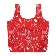 Moon Red Rocket Space Full Print Recycle Bags (L)