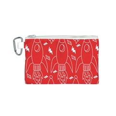 Moon Red Rocket Space Canvas Cosmetic Bag (S)