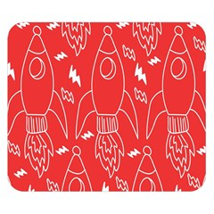 Moon Red Rocket Space Double Sided Flano Blanket (Small)