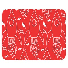 Moon Red Rocket Space Double Sided Flano Blanket (Medium)